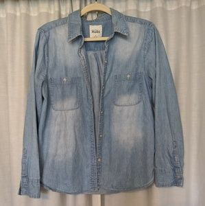 Fuax denim button up